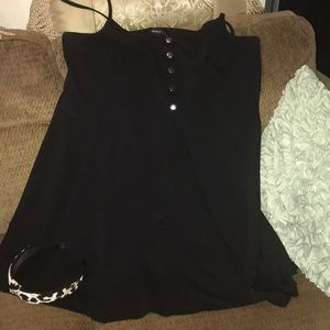 Forever 21 black jumper dress 3x silver button up